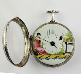 Reloj de bolsillo para dama, elaborado en plata 925, fabricado por Spindeluhr Verge Fusee. Francia 1800.