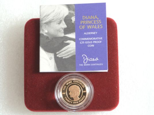 Diana moneda de oro de 25 libras conmemorando el quinto aniversario de la muerte de Diana