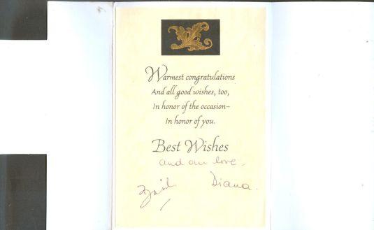 Diana tarjeta de invitación firmada por la Princesa Diana