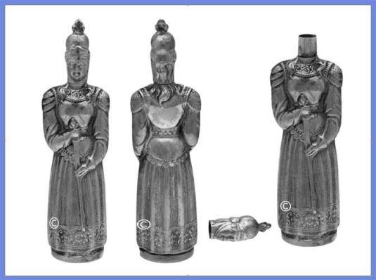 porta agujas de plata de la imagen de Juana de Arco Alemania 1880